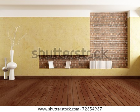Empty Minimalist Room With Plaster Wall And Brick Niche