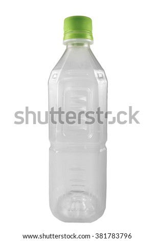 Empty 250 ml PET plastic bottle with a green can. Recycleable garbage series. - stock photo