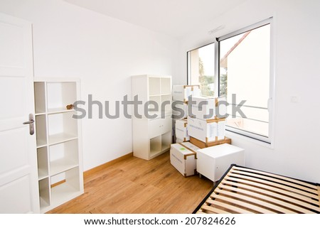 Empty modern bedroom during a moving - stock photo