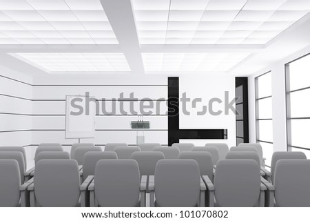 empty modern conference room with microphones and visual board and chairs - stock photo