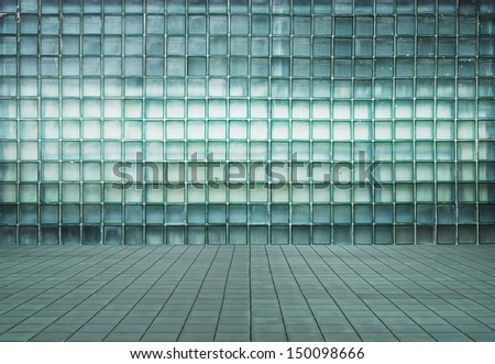 empty modern interior with glass wall