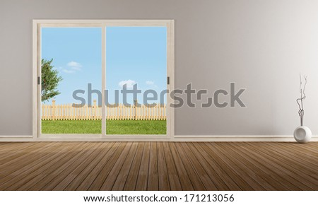 Empty modern living room with closed sliding window - rendering - the image on background is a my rendering composition - stock photo