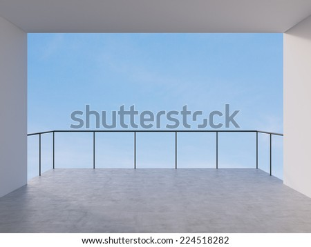 Empty modern lounge area and view of the sky. - stock photo