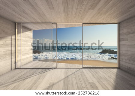 Empty modern lounge area with large bay window and view of sea. 3D render. - stock photo