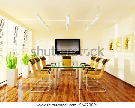 empty modern meeting room with glass table - stock photo