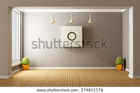 Empty modern room with windows and cabinet on wall - 3D Rendering - stock photo