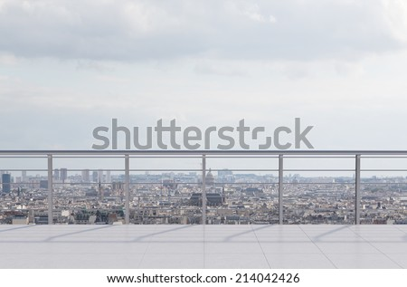 Empty modern terrace area and city view. - stock photo