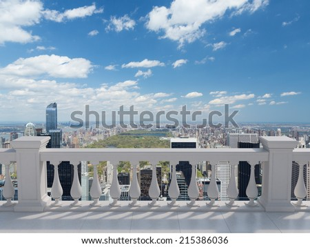 Empty modern terrace area, New York view. - stock photo