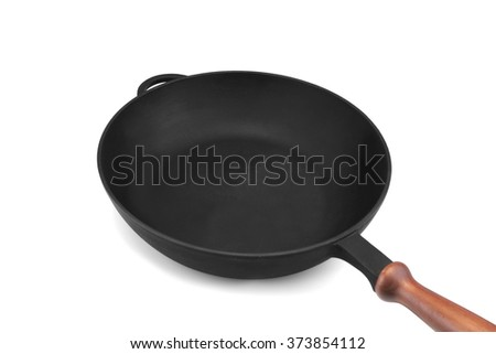 Empty Modern Vintage Cast Iron Pan With Wooden Handle Isolated  On White Background, Top View, Close Up - stock photo