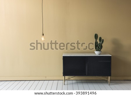 empty modern wall decoration bulb cactus and cabinet - stock photo
