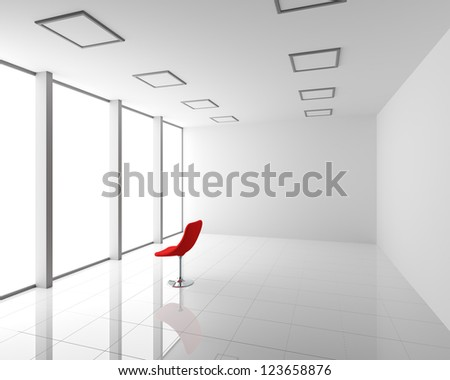 Empty Modern White Interior with Red Chair - stock photo
