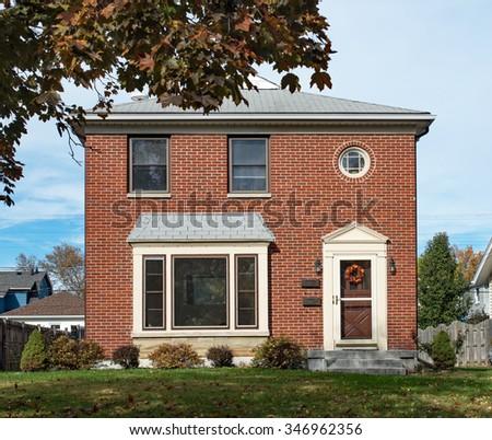 Empty Modest Brick Duplex House - stock photo