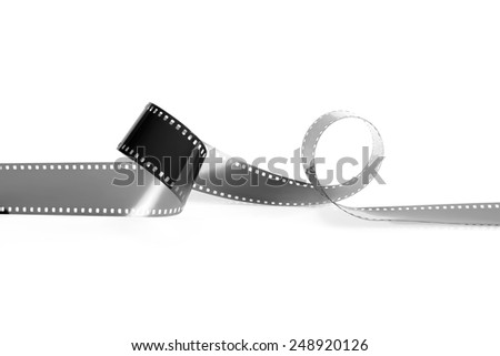 Empty monochrome film from the analog camera on a white background. It is isolated, the worker of paths is present. - stock photo