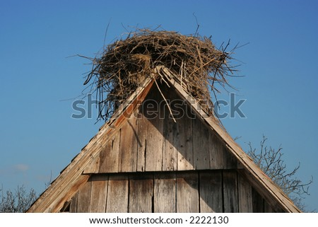 Empty nest  on the roof - stock photo