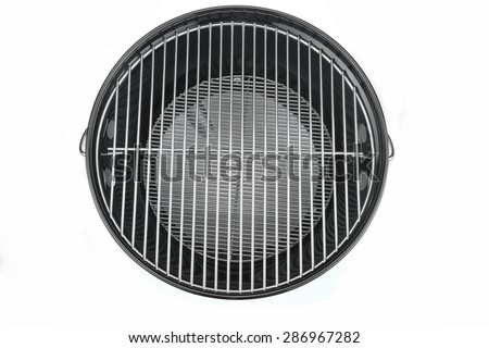 Empty New Clean BBQ Kettle Grill  Isolated On White Background Overhead View - stock photo
