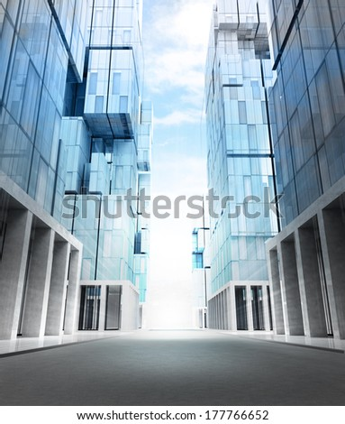 empty new modern business city street perspective view illustration - stock photo