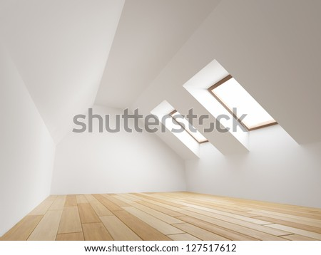 Empty new room with mansard windows - stock photo