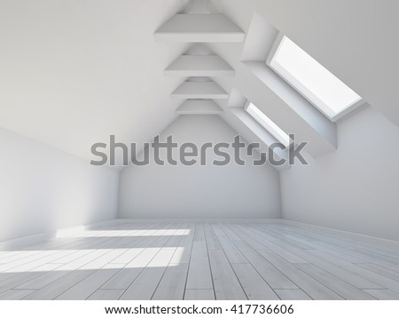 Empty new room with mansard windows. 3D illustration.