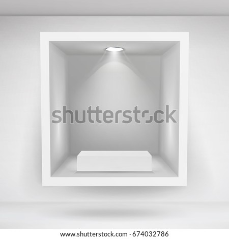 Empty Niche. Clean Empty Shelf, Niche, Showcase In The Wall. Mock Up. Good For Presentations, Display Your Product. Illuminated Light Lamp