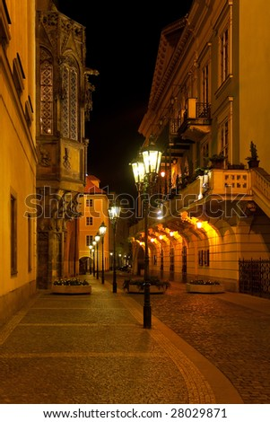 Empty night Prague street
