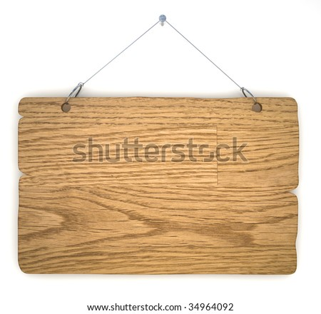Empty notice board made of old wood, hanging on a nail - stock photo