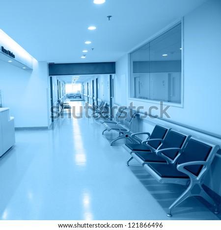 Empty nurses station in a hospital. - stock photo