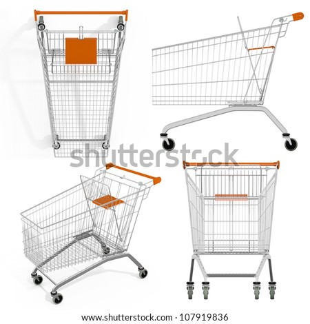 Empty of shopping cart isolated on white. render. Set - stock photo
