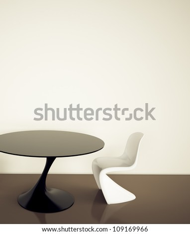 empty office room table and chair. 3d image. - stock photo