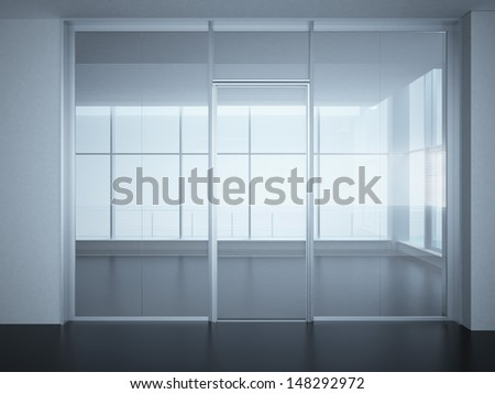 Empty office room with glass walls and doors - stock photo