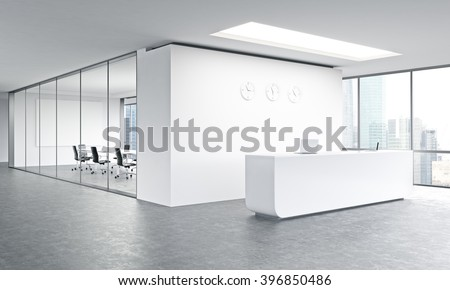 Empty office, white reception at white wall, three clocks on it. Panoramic window right, meeting room behind. Side view. Concept of reception. 3D rendering - stock photo