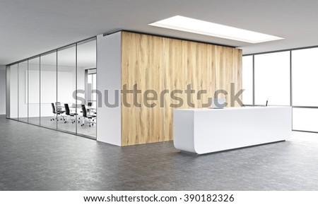 Empty office, white reception at wooden wall. Panoramic window right, meeting room behind. Concept of reception. 3D rendering - stock photo
