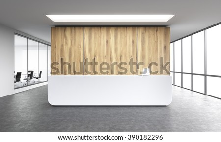 Empty office, white reception at wooden wall. Panoramic window right, meeting room left. Concept of reception. 3D rendering - stock photo