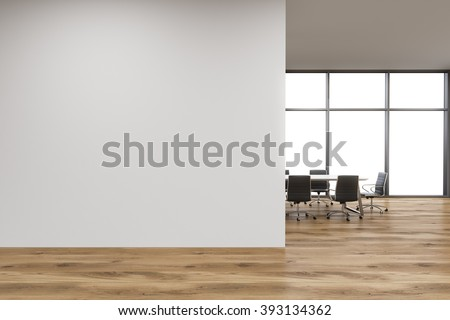 Empty office, white wall in front of panoramic window, table for meetings, wooden wall. Concept of new office. 3D rendering - stock photo