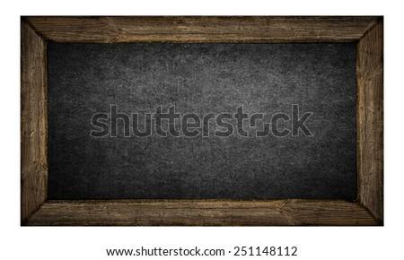 Empty old blackboard isolated on white background - stock photo