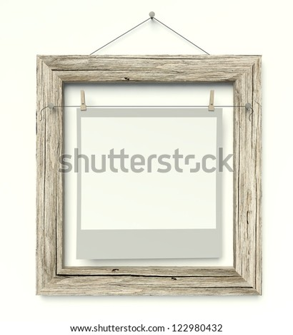 Empty old frame with blank photo on wall, isolated white - stock photo