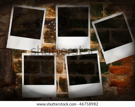 Empty old photo frames on wall - stock photo