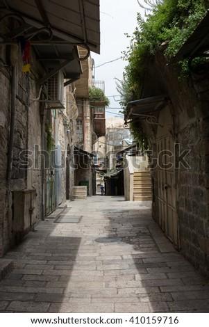 Empty old street of Jerusalem - stock photo