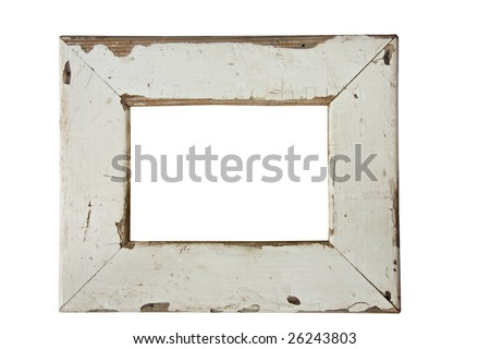 empty old weathered picture frame isolated on white - stock photo