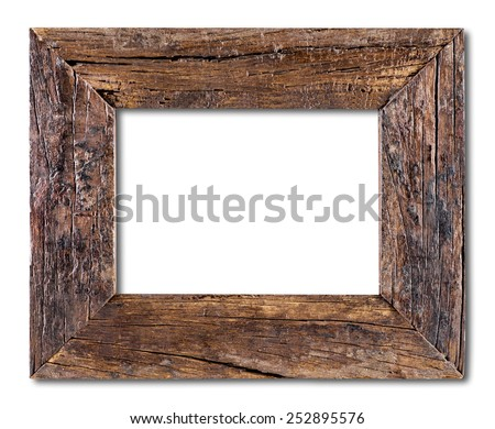 empty old wood frame - stock photo
