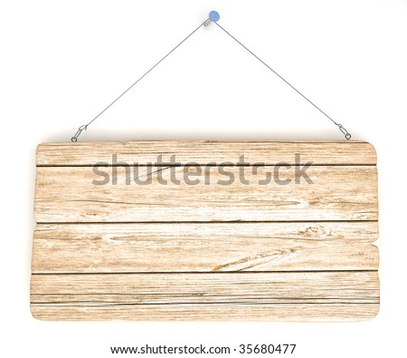 Empty old wood notice board, hanging on the wall - stock photo