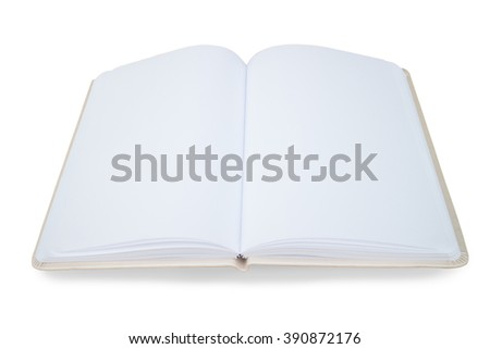 empty open book on a white background - stock photo