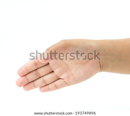 Empty open female hand for shake hands on white background - stock photo