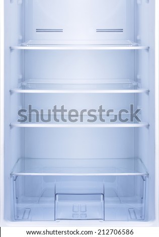 Empty open fridge, refrigerator. - stock photo