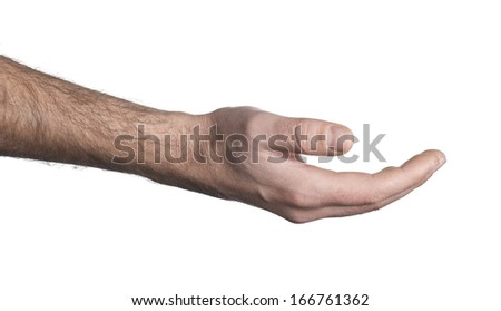 Empty open hand on white background - stock photo