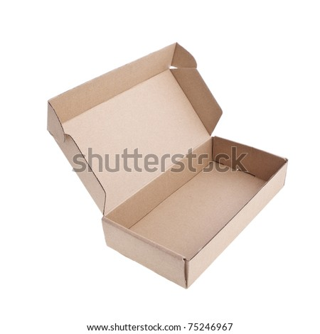 Empty open paper box over white - stock photo