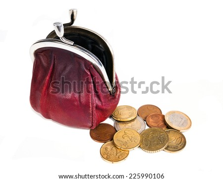 Empty open purse near money isolated on white background  - stock photo
