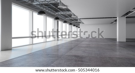 Empty Open Space Office White Wall And Concrete Floor