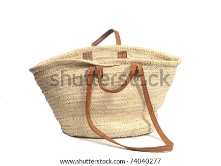 Empty open wicker bag on white - stock photo