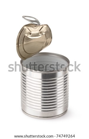 Empty opened steel can. Isolated on white. - stock photo