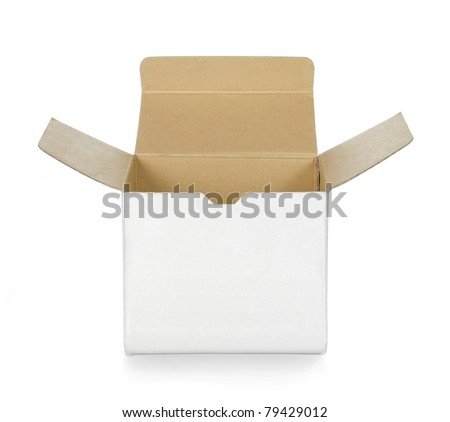 empty opened white cardboard box - stock photo